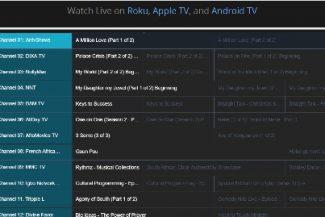 """Imagem com a tela """"Timeline"""" do modo IPTV para celular Datatix."""