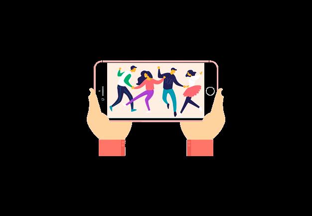 Desenho de duas mãos segurando um celular exibindo dois casais dançando para ilustrar a plataforma de streaming DVD online da Datatix.