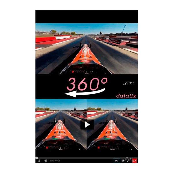 Imagem de vídeo 360° com carro de corrida.