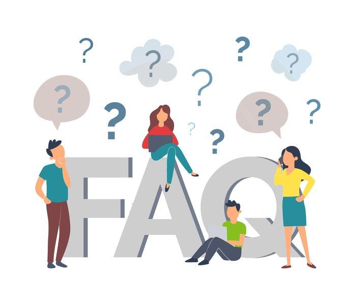 Desenho de duas mulheres e dois homens rodeando a palavra FAQ, com pontos de interrogação em volta, para ilustrar as perguntas frequentes direcionadas para a Datatix.