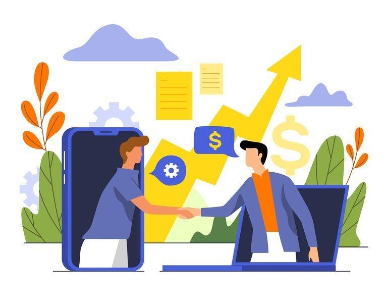Desenho de dois homens saindo da tela de um celular e computador, rodeados por ícones de dinheiro, crescimento, nuvens etc. Para ilustrar a revenda de streaming das plataformas Datatix.