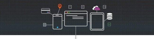 """Ícones de um celular, tablet e página da web conectadas para ilustar o tema """"Seja um desenvolvedor de integração""""."""
