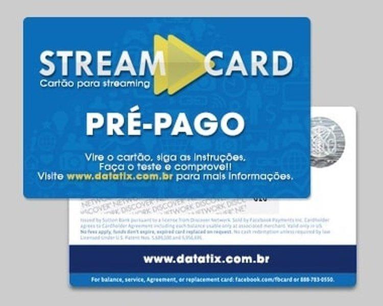 Frente e verso do cartão StreamCard Pré-Pago.
