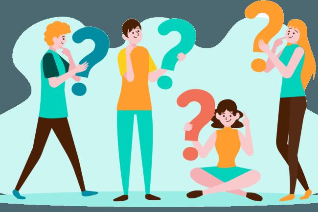 Desenho de dois homens e duas mulheres segurando pontos de interrogação para ilustrar a dúvida sobre a WebTV e IPTV.