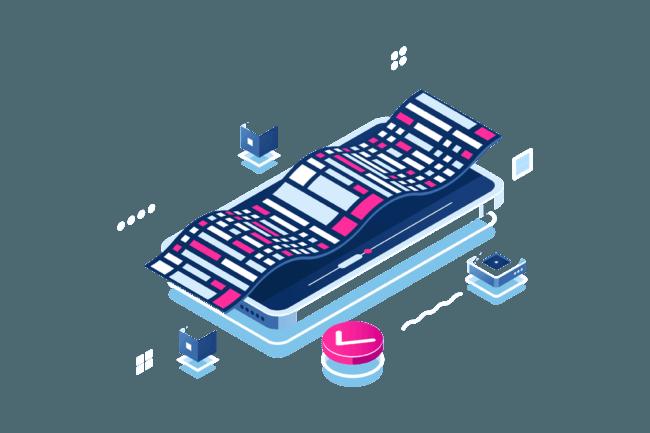 Desenho de um celular com ícones diversos ao seu redor para ilustrar a integração API da Datatix