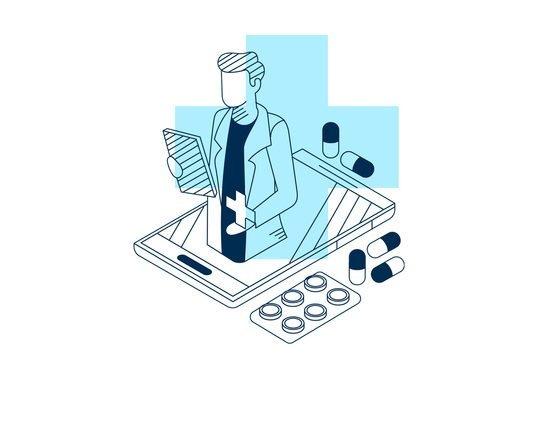 Desenho de um médico saindo da tela de um celular para ilustrar a possibilidade de apresentação dos vídeos através do streamcard saúde da plataforma de streaming Datatix.