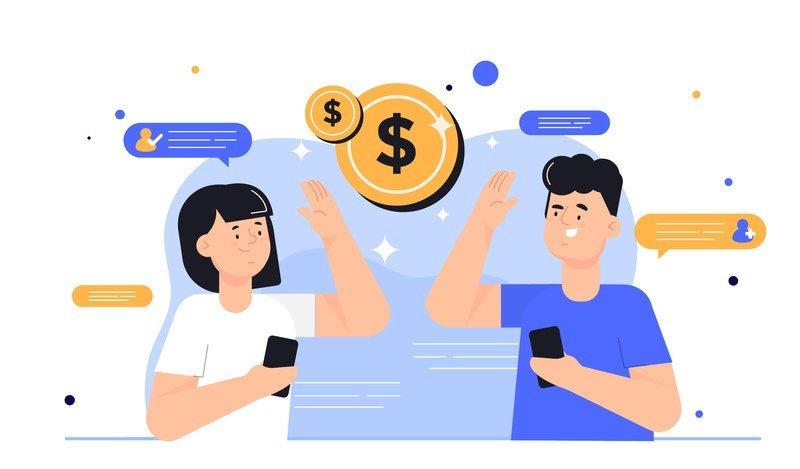 Desenho de uma mulher e um homem com um celular na mão rodeados por símbolos de dinheiro para ilustrar os planos e preços das plataformas Datatix.
