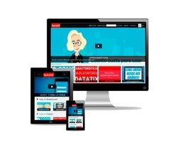 Monitor de TV, aparelho celular e tablet com a imagem da plataforma portal de vídeos.