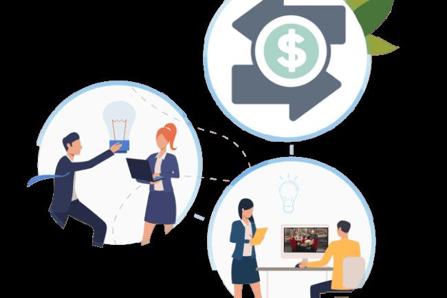 Imagem com mulheres e homens de negócios conversando e fazendo reuniões, contém também um desenho de duas setas, onde cada uma aponta para um lugar diferente e no centro o ícone de um cifrão para ilustrar a monetização para ilustrar o projeto de TV Corporativa disponível na plataforma de streaming Datatix.
