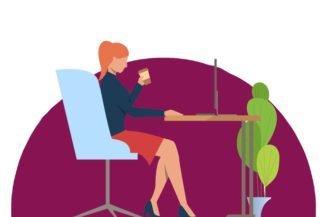 Desenho de uma mulher em sua mesa assistindo a transmissão da WebTV Corporativa, plataforma de streaming Datatix.