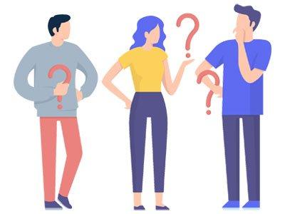 Desenho de uma mulher e dois homens segurando pontos de interrogação para ilustrar as dúvidas do pacote da TV Corporativa Datatix.