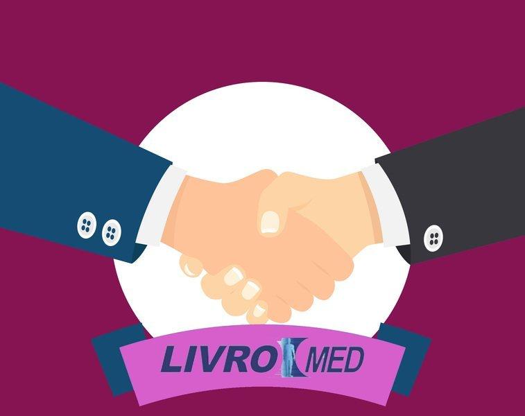 Desenho de um aperto de mão, em volta o logo da empresa Livromed, case de sucesso da Datatix.
