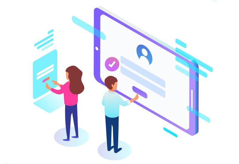 Desenho de uma mulher e um homem mexendo em um tablet para ilustrar o formulário de cadastro da plataforma Datatix.