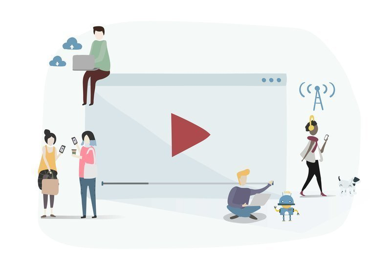 Desenho de pessoas em volta de uma tela de vídeo para representar os usuários da plataforma Datatix.