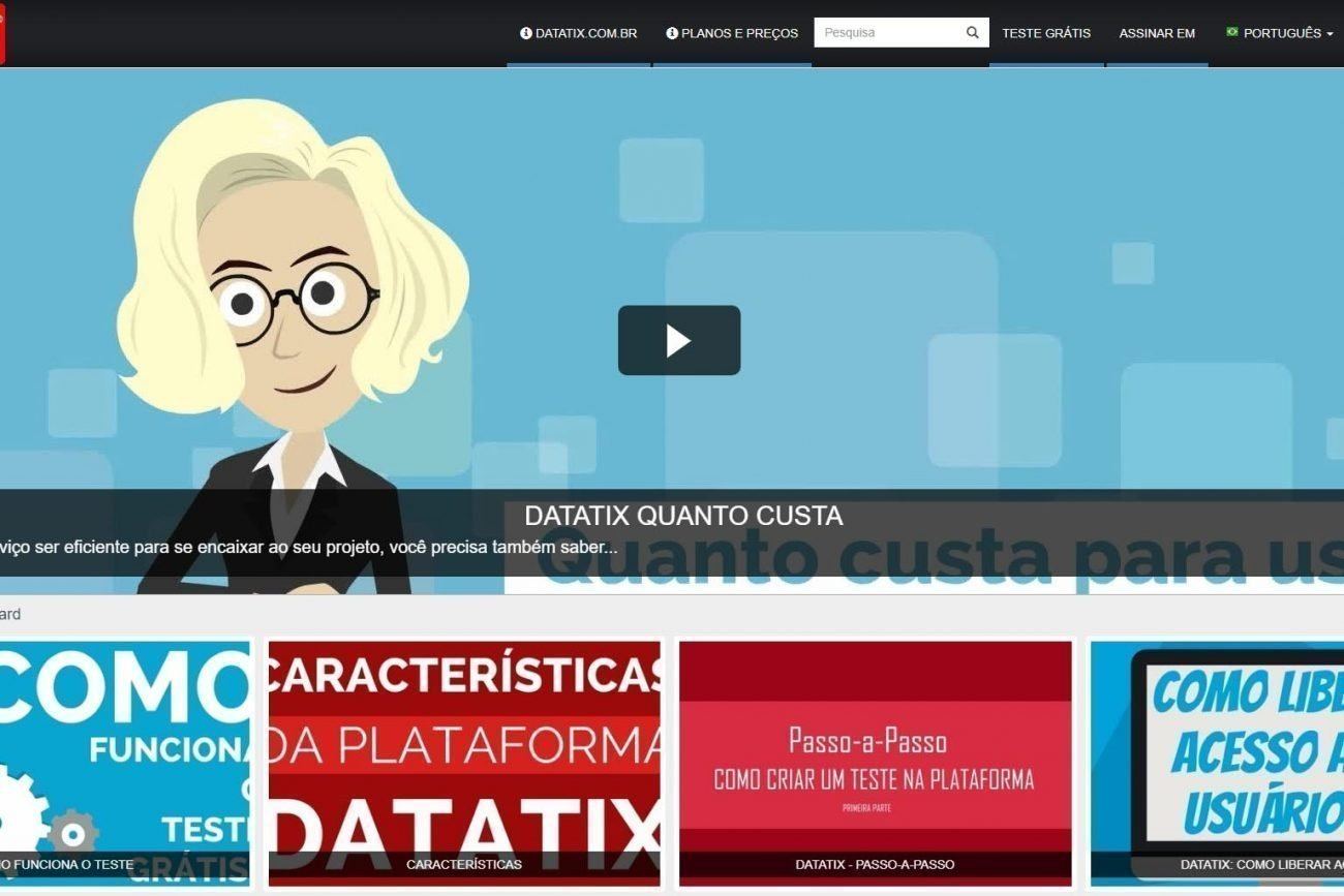 Tela de apresentacao dos videos no template portal de videos da Datatix
