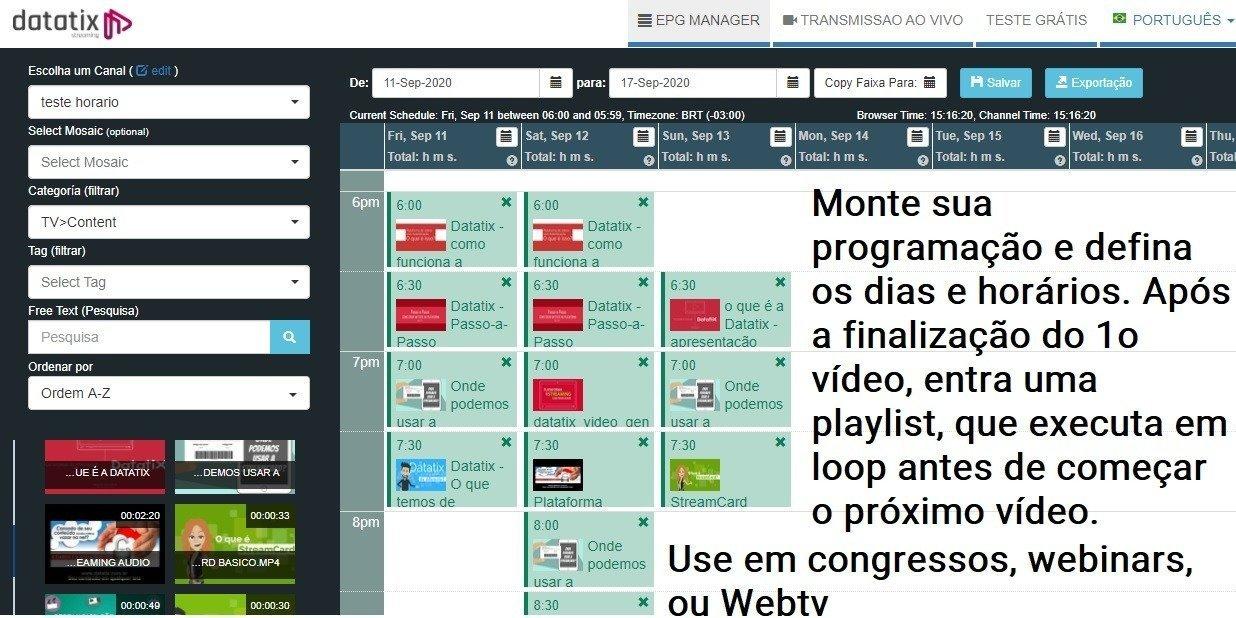 tela de programação eletronica de TV